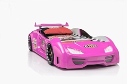 Rosa Mädchenbett als Rennwagenbett aus Kunststoff