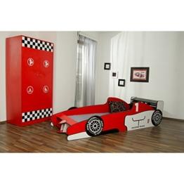 Formel 1 Bett in Rot im Set mit passendem Kleinderschrank im Kinderzimmer