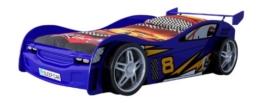 Blaues Rennwagenbett mit Kunststoffreifen nud Kunststoffverkleidung von Vipack