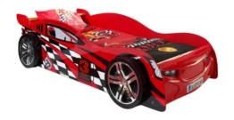 Rotes Rennwagenbett von Vipack mit Kunststoffront und Reifen