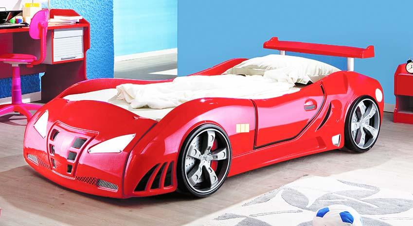 Rotes Rennwagenbett mit LED Beleuchtung