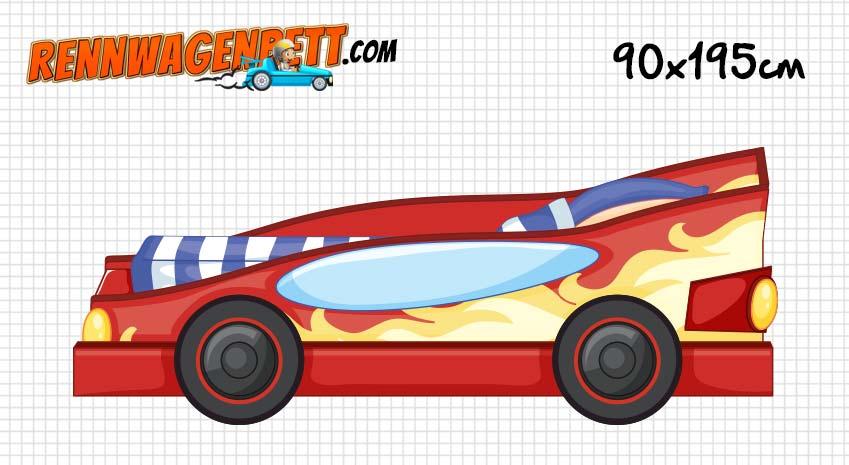 90x195 cm Rennwagenbett - rotes Autobertt mit blau weiß gestreifter Bettwäsche