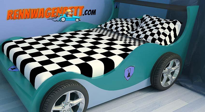 grünes Rennwagenbett aus Holzwerkstoff und Kunststoff