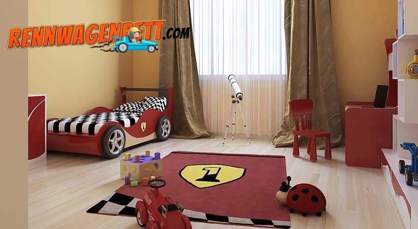 Rennwagenbett in Kinderzimmer in dem alles passend zum Autobett aussieht