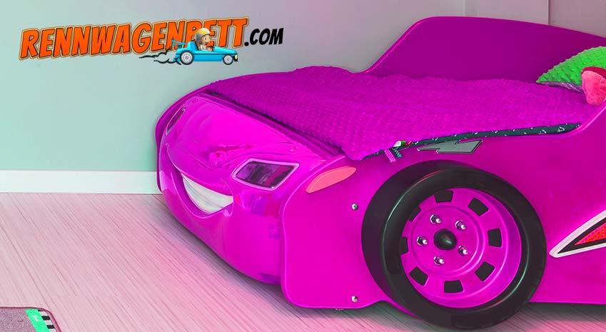 Rosa Rennwagenbett für Mädchen. Autobett für Mädchen