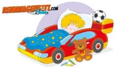 comic, Zeichnung von einem Kind, das friedlich in seinem roten Autobett schläft