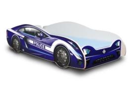 blaues Rennwagenbett mit Polizeimotiv und blauer Matratze