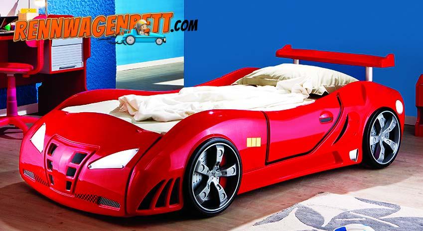 Rennwagenbett aus Kunststoff in rot. Alle Teile sind aus Kunststoff geformt. Die Türen kann man öffnen